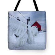 Grand Haven Lighthouse In Winter Tote Bag