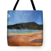 Grand Prismatic Hot Spring Pool At Yellowstone National Park Tote Bag