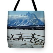 1m9306-grand Tetons From Ranch Country Tote Bag