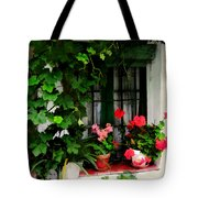 Grapevines And Geraniums Around A Window Tote Bag