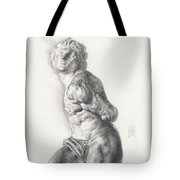 Graphite Drawing Of The Rebellious Slave Sculpture By Michelangelo Buonarotti Tote Bag