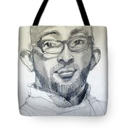 Graphite Portrait Sketch Of A Young Man With Glasses Tote Bag