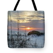 Grass And Mound Sunrise Tote Bag