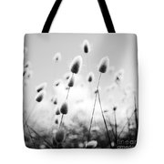 Grass Field Black And White Tote Bag