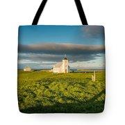 Grasslands And Flatey Church, Flatey Tote Bag