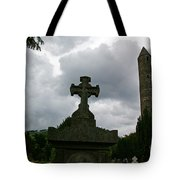 Grave Cross And The Round Tower Tote Bag