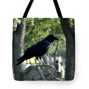 Graveyard Bird On Top Of A Tombstone Tote Bag