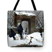Graveyard Under Snow Tote Bag