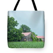 Gray Sky - Red Roofed Barn - Green Fields Tote Bag