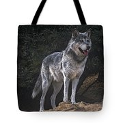 Gray Wolf On Hillside Endangered Species Wildlife Rescue Tote Bag