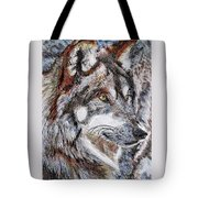 Gray Wolf Watches And Waits Tote Bag by J McCombie