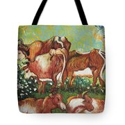 Grazing Cows Tote Bag
