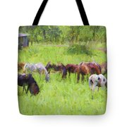 Grazing Trail Horses Tote Bag