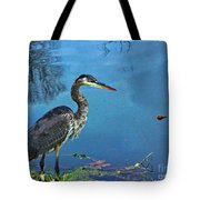 Great Blue Along The Canal Tote Bag