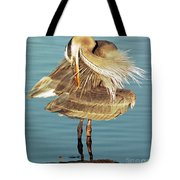 Great Blue Heron Ardea Herodias Preening Tote Bag