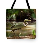 Great Blue Heron By Pond Tote Bag