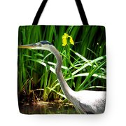 Great Blue Heron By Yellow Flower Tote Bag