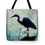 Great Blue Heron Fishing In The Low Lake Waters Tote Bag