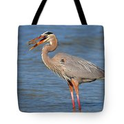 Great Blue Heron Flipping A Shrimp Tote Bag