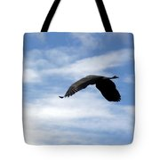 Great Blue Heron Flying Past The Clouds Above Trojan Pond 2 Tote Bag