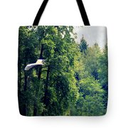 Great Blue Heron Flying Past The Trees Above Trojan Pond 2 Tote Bag