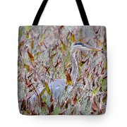 Great Blue Heron In Fall Marsh Tote Bag