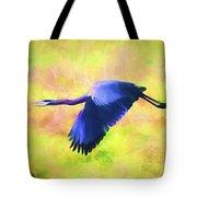Great Blue Heron In Flight Art Tote Bag