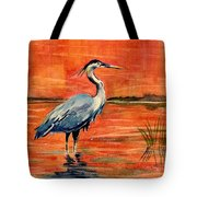 Great Blue Heron In Marsh Tote Bag