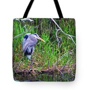 Great Blue Heron In Nature Tote Bag