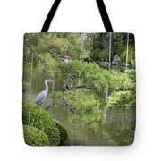 Great Blue Heron In Pond Kyoto Japan Tote Bag
