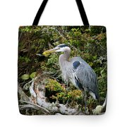 Great Blue Heron On Log Tote Bag