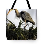 Great Blue Heron On Palm Tote Bag