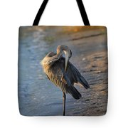 Great Blue Heron Preening On The Beach Tote Bag