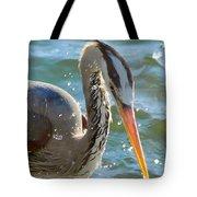 Great Blue Heron Splish Splash Tote Bag
