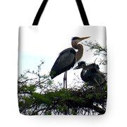 Great Blue Heron With Fledglings II Tote Bag
