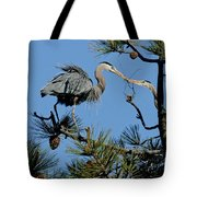 Great Blue Heron With Nest Material Tote Bag