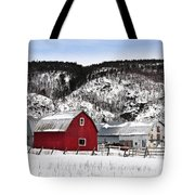 Great Canadian Red Barn In Winter Tote Bag