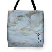 Egret Above Cloud Or Water Tote Bag
