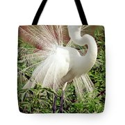 Great Egret Courtship Display Tote Bag