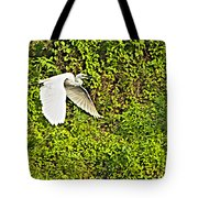 Great Egret Flying Over Rapti River In Chitwan Np-nepal Tote Bag