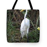 Great Egret In The Green Tote Bag