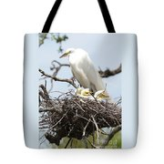 Great Egret Nest With Chicks And Mama Tote Bag