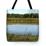 Great Egret On Berm Pond At Tifft Nature Preserve Buffalo New York Tote Bag