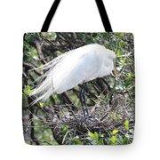 Great Egret On Nest Tote Bag