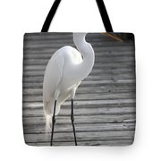 Great Egret On The Pier Tote Bag