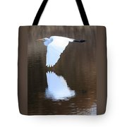 Great Egret Over The Pond Tote Bag