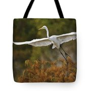 Great Egret Pixelated Tote Bag