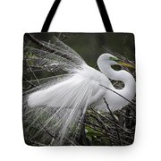 Great Egret Preening Tote Bag