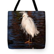 Great Egret Walking On Water Tote Bag
