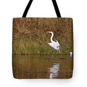 Great Egret Wing Water Reflections 3 Tote Bag